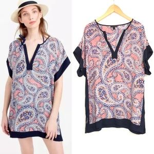 J. Crew Paisley Print Split Neck Relaxed Tunic Top